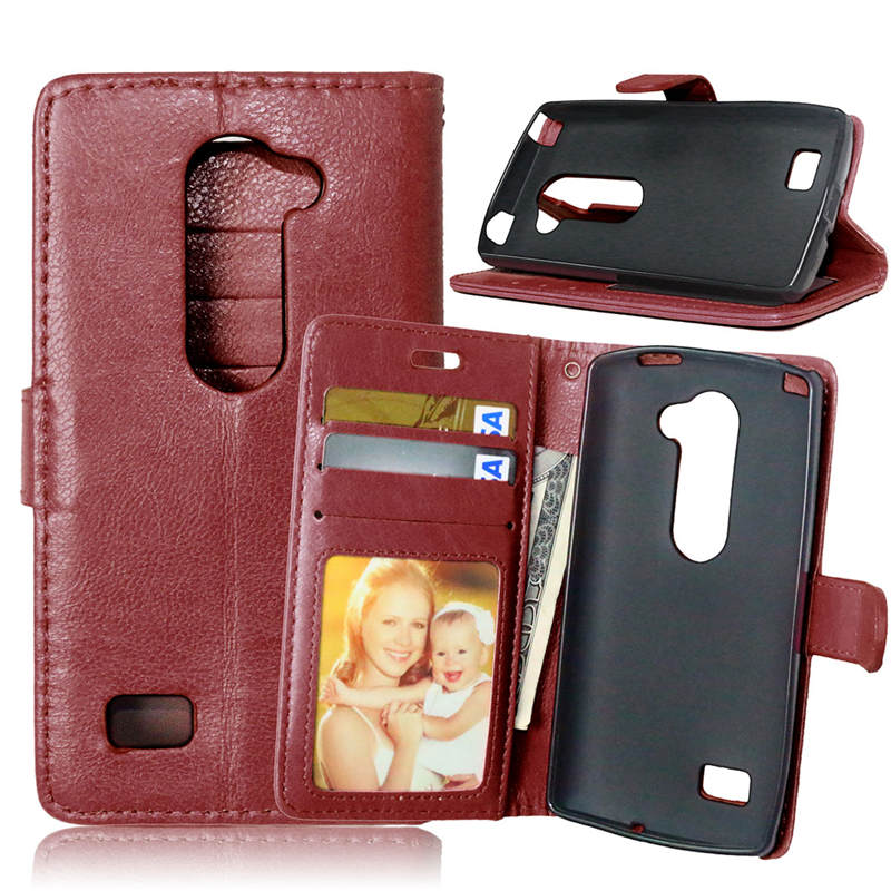 For LG Leon 4G LTE H340N C50 C40 Luxury Leather Cases Fashion Card Slot Stand Wallet Case Photo Frame Flip Phone Cover Phone Ba(China (Mainland))