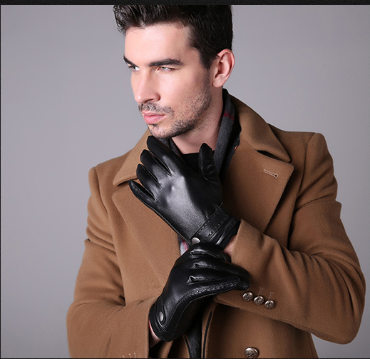 DL-11016 Hot Sales 100% Top Quality Genuine Leather Gloves Men Handmade Real Sheepskin Gloves Winter Gloves For Man(China (Mainland))