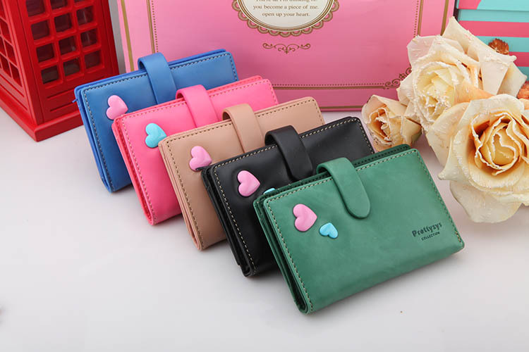 new arrive PU leather women medium size wallets,fashion sweet heart design candy solid color purse bag.high quality new brand(China (Mainland))
