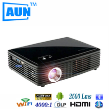 AUN HD Projector 4k Chip DLP Projector with Android4.4.2 WIFI Bluetooth, 3D Glasses for Gift for Disco Meeting Business Z3000G5(China (Mainland))