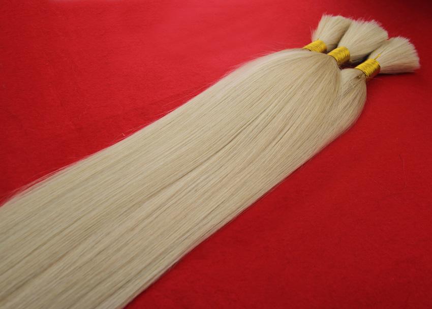 wholesale human braiding hair bulk no attachment 100g grade 6a unprocessed virgin brazilian straight hair #60 platinum blonde