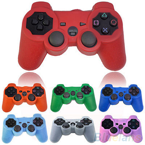 Silicone Protective Skin Cover Wrap Case for Playstation 3 PS3 Controller Gamepad 2IQ4(China (Mainland))