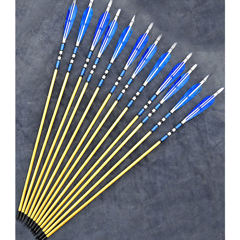 12Pcs Traditional Handmade Wooden Arrows 80cm Archery Hunting Arrows with Blue Feather Black Arrowheads for 20-70lbs Longbow