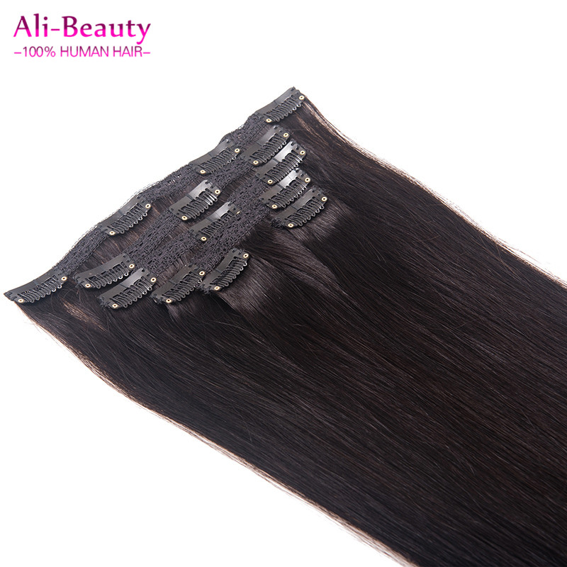 Clip In Human Hair Extensions Straight 70g 6pcs Brown Malaysian Human Hair Extentions Full Head Set Aplique Tic Tac Cabelo