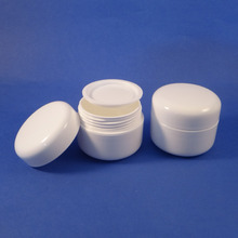 24 WHITE 1oz 30ml Plastic Cosmetic Double Wall Cream Jars Containers Makeup New (AY62-20)