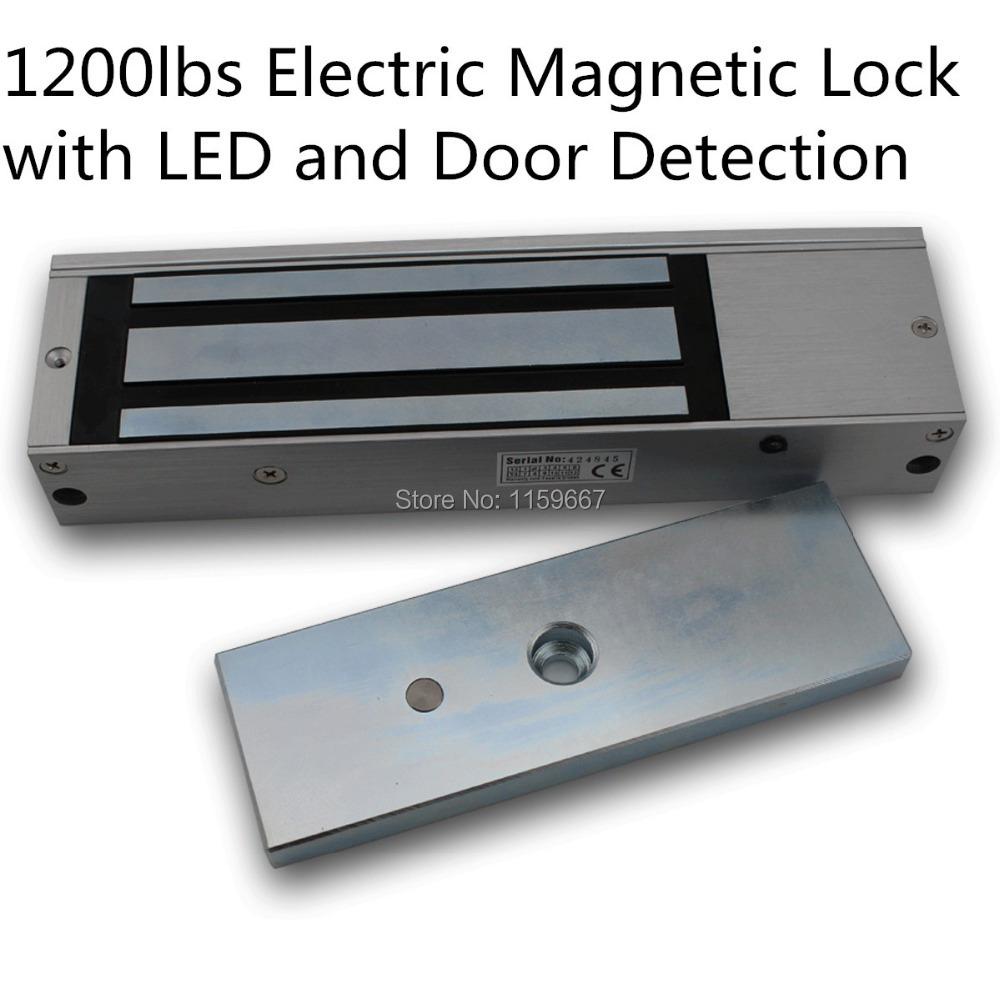 Wooden Metal Door Access EM lock 1200lbs 500kg Electromagnetic Lock Access Control Door Lock With LED light and Door Detection(China (Mainland))