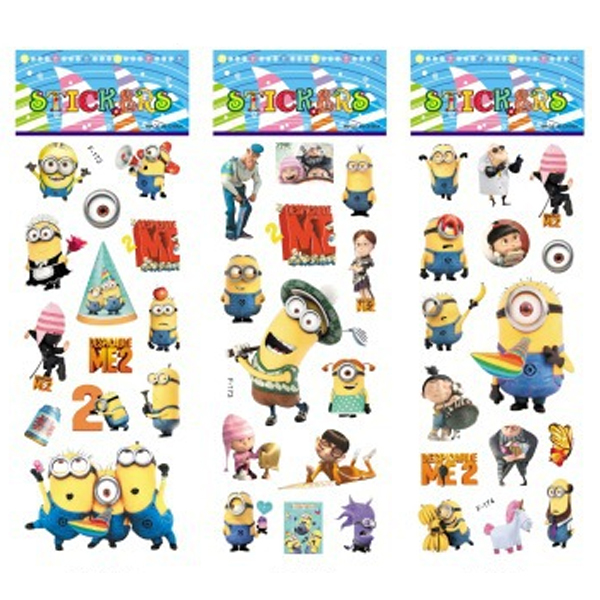 6 sheets/set Minions stickers for kids Home wall decor on laptop Despicable Me mini 3D sticker decal fridge skateboard doodle