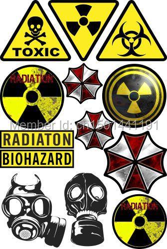 A4 Size Biohazard Umbrella Skateboard Snowboard Luggage Car Bike Vinyl Stickers F0039(China (Mainland))
