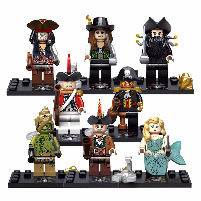 Pirates of the Caribbean Minifigure Building Block Toys Captain Jack Mermaid Davy Jones Model Brick Compatible with Lego KSZ 518(China (Mainland))