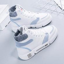 2019 mới cao-top giày của phụ nữ hoang dã Hàn Quốc mùa thu và mùa đông cộng với nhung bông giày màu đỏ net thể thao giày trắng(China)