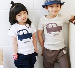 Children's T-shirt + pants suit car children suit cute sets free shipping(China (Mainland))