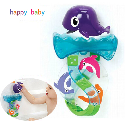 Hot Dolphin Dive Runner Baby Bathing Toys Waterwheel Toy WaterWheel Dabbling Toy For Baby(China (Mainland))