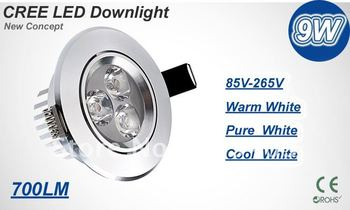 New Arrivals CE CREE LED downlight, led lamp,9W 3*3W AC85-265V,include the drive, power led lighting warranty 3 years
