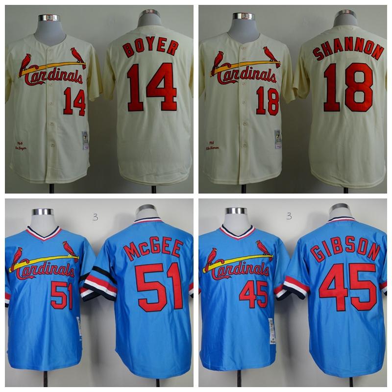 Throwback  St. Louis Cardinals Baseball Jersey #14 Ken Boyer #18 Mike Shannon #51 Willie McGee #45 Bob Gibson CCM Vintage Jersey<br><br>Aliexpress