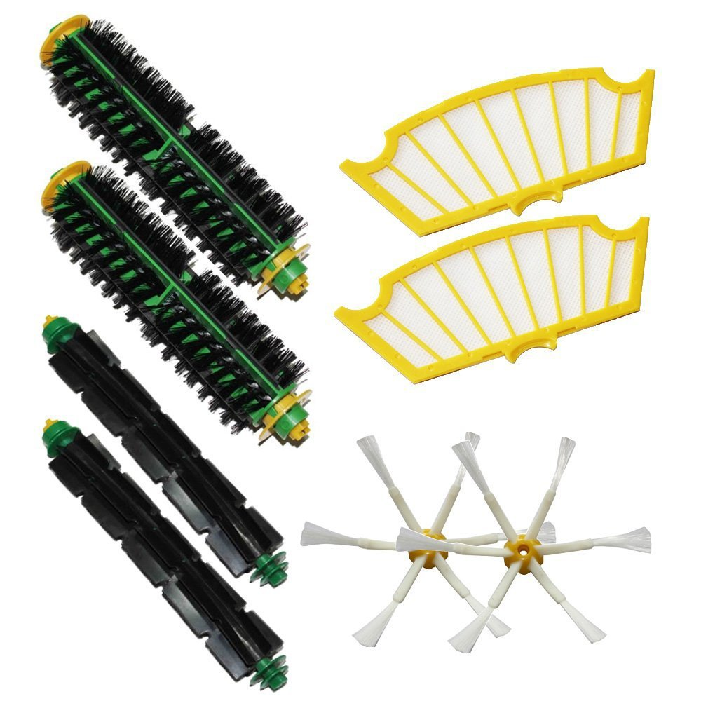 (8 pcs/lot) Brush Kit For iRobot Roomba 500 530 560 510 550 570 580 610 Vacuum Robots all Green, Red, Black cleaning head(China (Mainland))