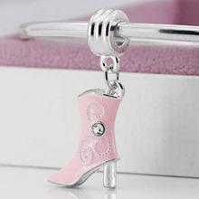 New Silver Plated Bead Charm Enamel High-heeled boots Pendant Beads Fit Women pandora bracelets & bangles DIY Jewelry YW15506(China (Mainland))