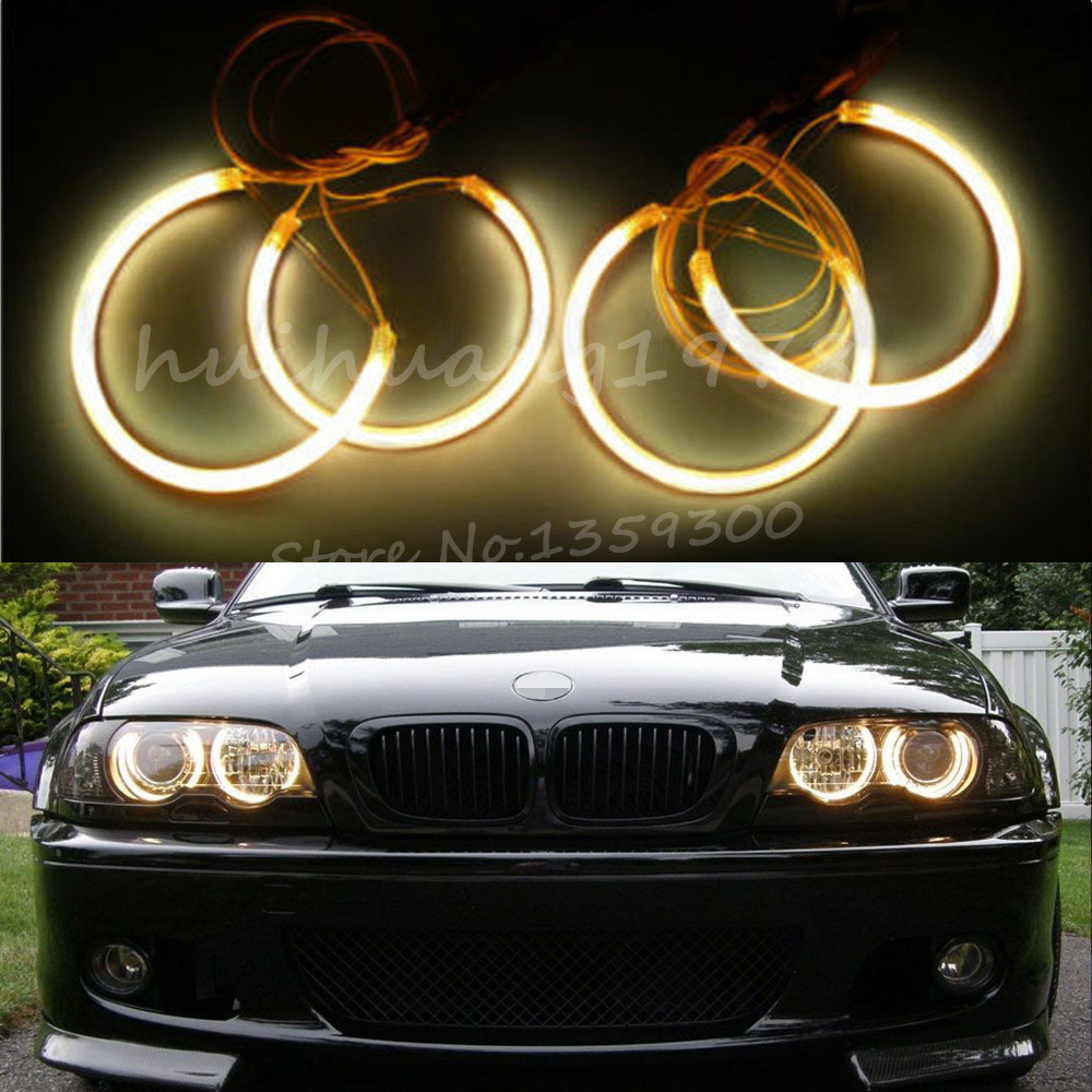 4x Angel Eyes Halo Rings 131mm 146mm Beam CCFL Light Non-Projector For BMW E46 3 Series 1993-2003 Yellow Car Styling <br><br>Aliexpress