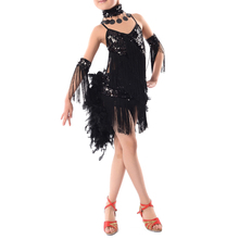 New Children Kids Sequin Feather Fringe Stage Performance Ballroom Dance Costume Latin Dancing Dresses For Girls(China (Mainland))