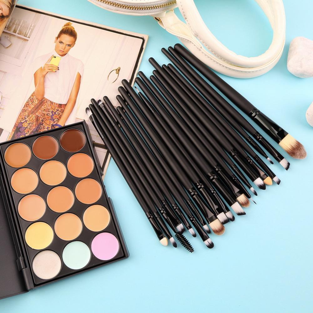 15 Colors Contour Face Cream Makeup Concealer Palette and 20 PCS Professional make up Power Brushes Hot <br>