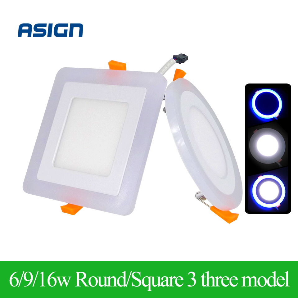 New Design LED Panel Downlight 6W 9W 16W 3 Modes LED Lamp Panel Light AC85-265V Ceiling Recessed Lights Indoor Lighting Bulb CE(China (Mainland))