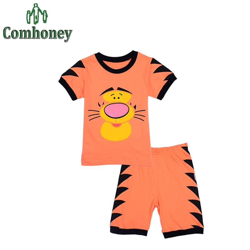 Tiger Baby Pajamas Spiderman Pijamas Kid Children Superhero Clothes Set Toddler Boys Summer Nightwear Cartoon Infantil Sleepwear(China (Mainland))