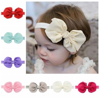 12 Colors Chiffon Bowknot Baby Girls Headbands Elastic Hair Bands Infant Kids Headbands Hair Bow Band 585