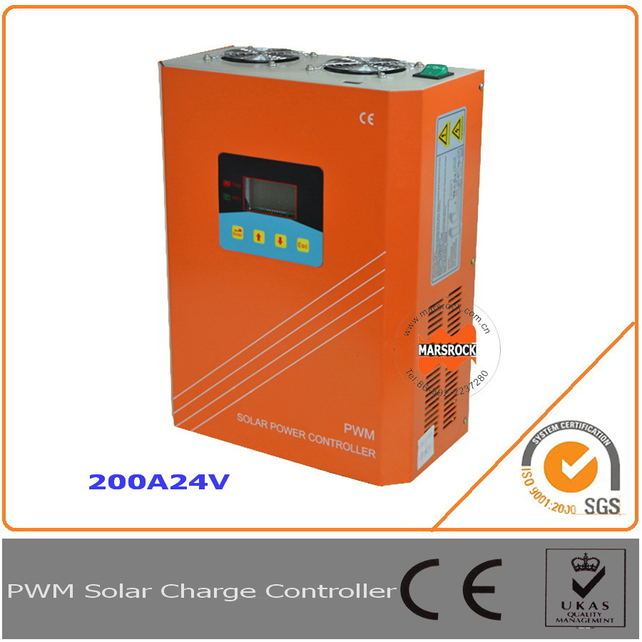 200A 24V PWM Solar Charge Controller Regulator with LCD LED RS232 for Communication<br>