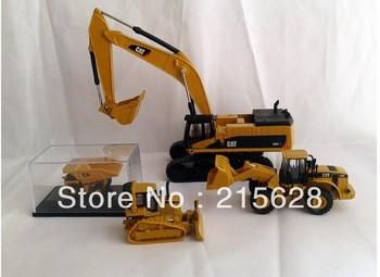 Free shipping1:64 CAT385C Hydraulic Excavator With CAT 950G CAT D5M CAT 793D SET toy mini diecast alloy engineering navvy model