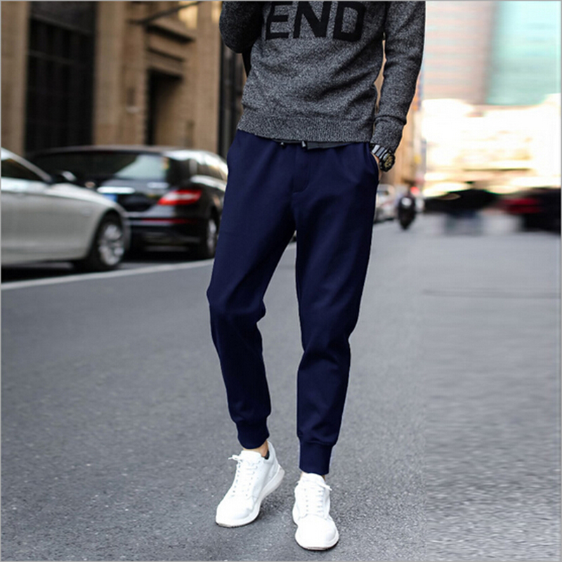 Jogger pencil pants solid fashion simple style pants men spring summer casual cotton solid color men pants(China (Mainland))