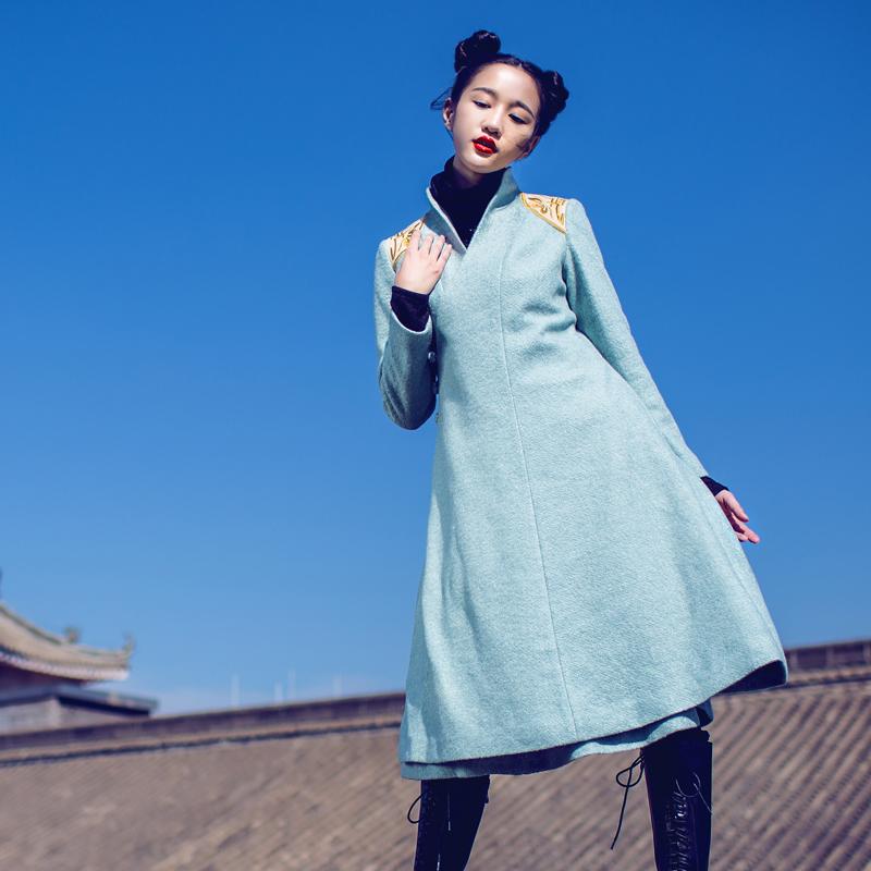 BOHOCHIC Original Vintage Ethnic Bohemian Nepal V Neck Single Breasted Winter Women Long Woolen Coat White SL0052D Boho Chic(China (Mainland))