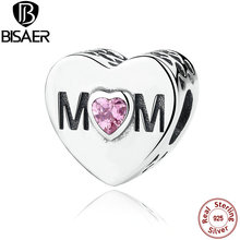 Buy Real 925 Sterling Silver Pink CZ Openwork Mom Charm Beads fit Pandora Charm Bracelet DIY Fine Jewelry Accessories GOS299 for $4.81 in AliExpress store