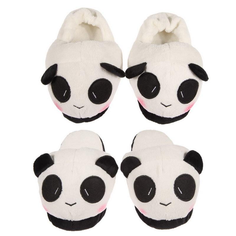 Free Shipping Women Ladies Soft Cute Panda Winter Warm Plush Antiskid Indoor Home Slipper(China (Mainland))
