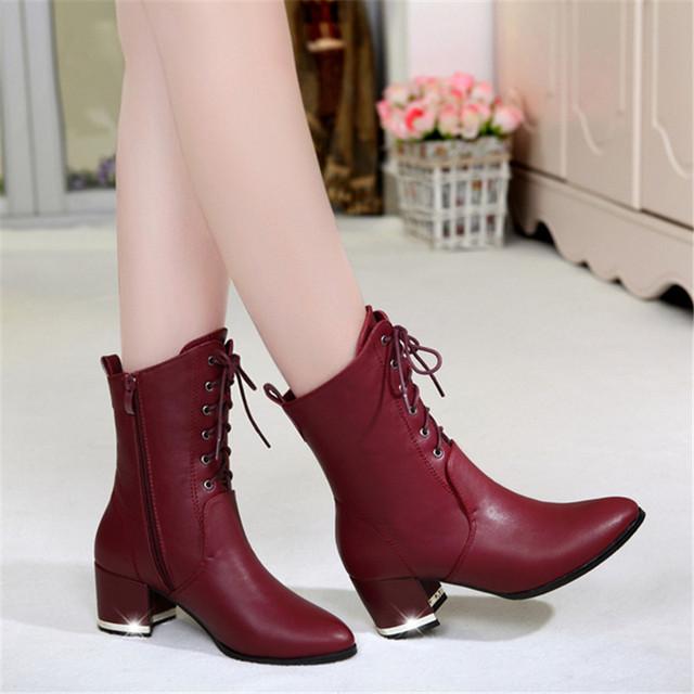 2015 осень зима новинка женщин сапоги из натуральной кожи на высоких каблуках мартин сапоги толстые пятки британский стиль женской обуви