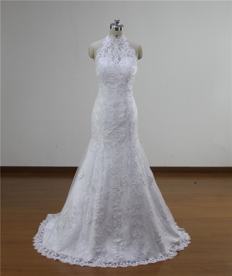 2015 real photo mermaid lace wedding dress sleeveless high for True mermaid wedding dresses