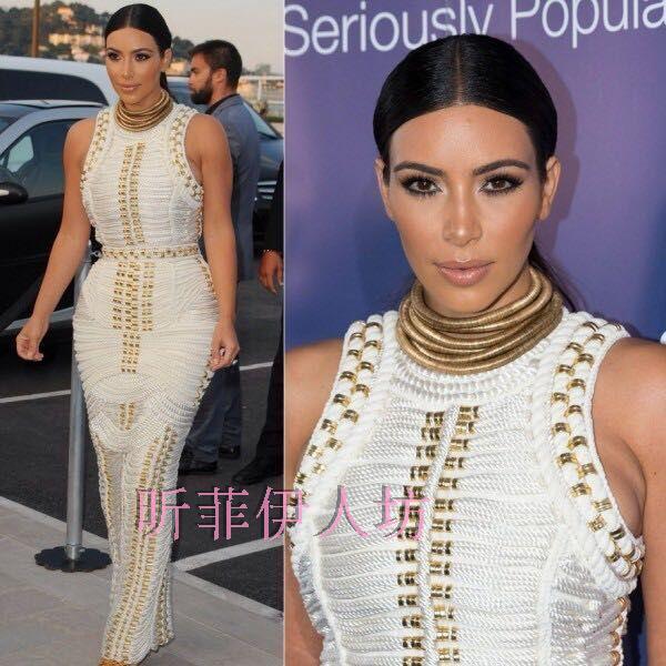 high Quality New Arrival sleeveless studded beaded long maxi rayon HL Bandage Dress Celebrity kim kardashian dressОдежда и ак�е��уары<br><br><br>Aliexpress