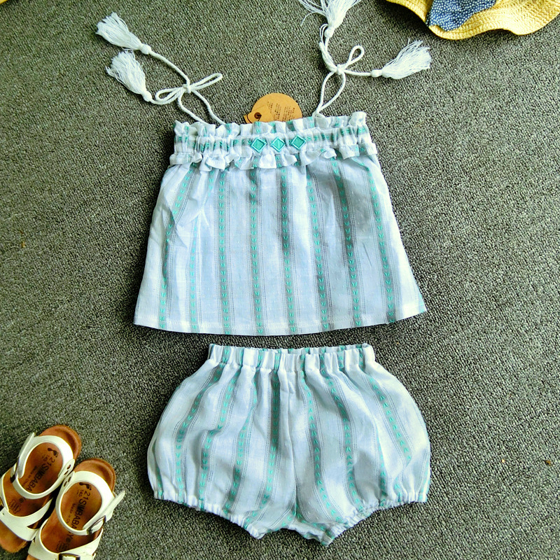 Baby girl Strapless jacquard tassels suit girls summer stripe fashion clothing set children boob tube top tube dress and shorts(China (Mainland))