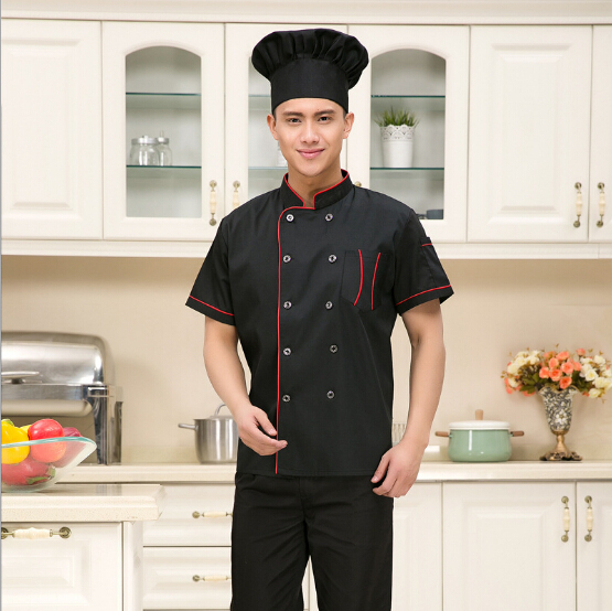 Wholesale Hotel Restaurant Chef Clothing Short Sleeve Men and Women Kitchen Black Uniforms Chef Coats Jackets Free Shipping(China (Mainland))