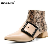 Buy Women Genuine Leather Ankle Boots New Design Animal Prints Pointed Toe Botas Woman Buckle Low Heeled Shoes Size 33-40 for $53.75 in AliExpress store
