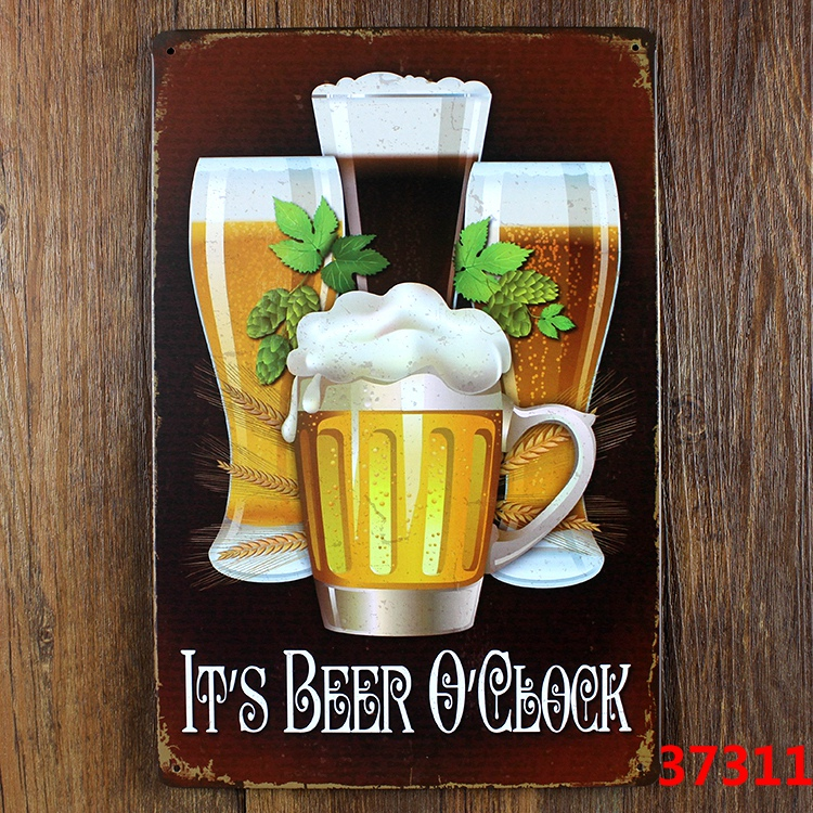 IT'S BEER O'CLOCK Retro Metal Tin Sign decor Home Bar Party Wall Funny Movie Poster Painting Gift 20*30CM HB-055(China (Mainland))
