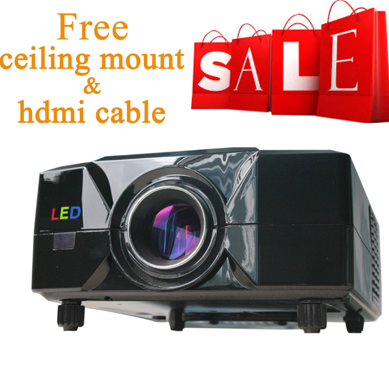 Newest ! 2013 Top quality 720P 1080P 2200 lumens Full HD multimedia lcd  projector Shutter  Beamer projector 120 big screen<br><br>Aliexpress