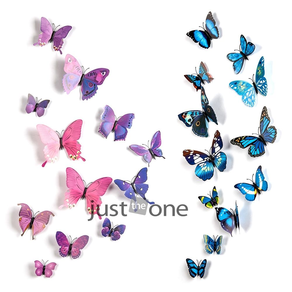 2015 New Gossip Girl Same Style 6 Big and 6 Small 3D Butterfly Wall Stickers Butterflies Decors For Home Fridage Decoration 36(China (Mainland))