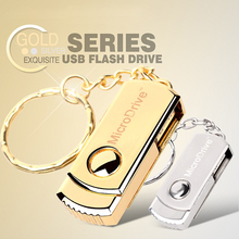 Rotatable Mini USB Silver / Gold Metal Micro Drive 64gb 32gb usb flash drive 16 GB 8gb 4gb memory stick pen drive with key chain(China (Mainland))