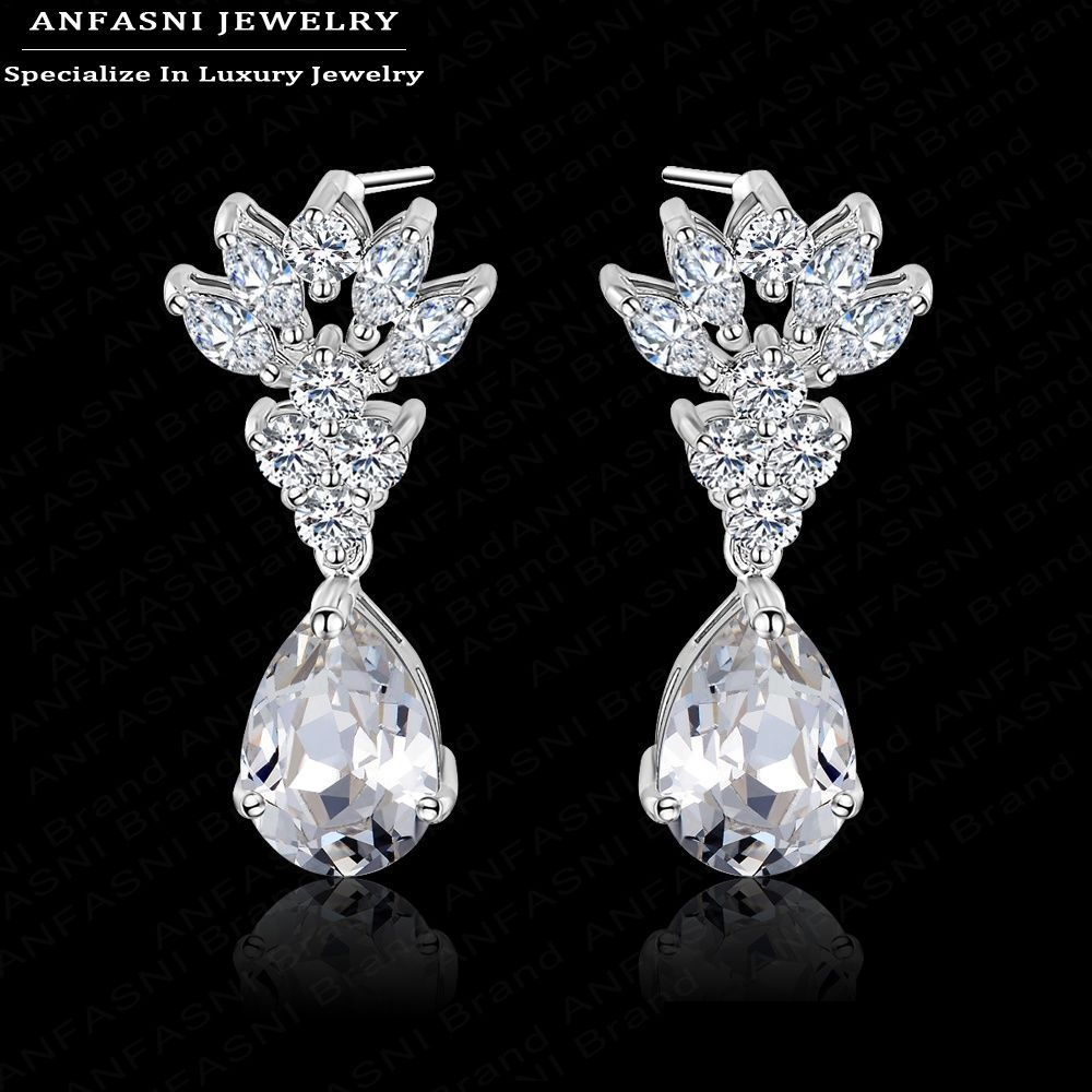 2015 New AAA Cubic Zirconia Earring For Women Real 18K Platinum Plated Wedding Jewelry Accessories CER0025-B<br><br>Aliexpress