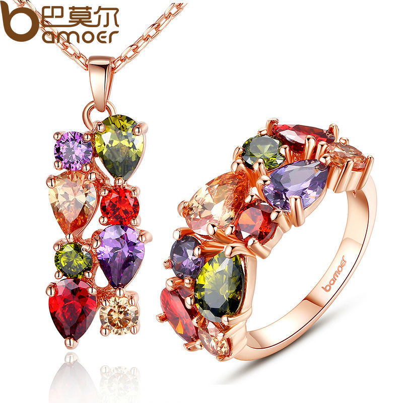 Bamoer 2015 New Gold Plated Mona Lisa Jewelry Sets with Multicolor AAA Cubic Zircon for Women Anniversary Bridal Jewelry Sets