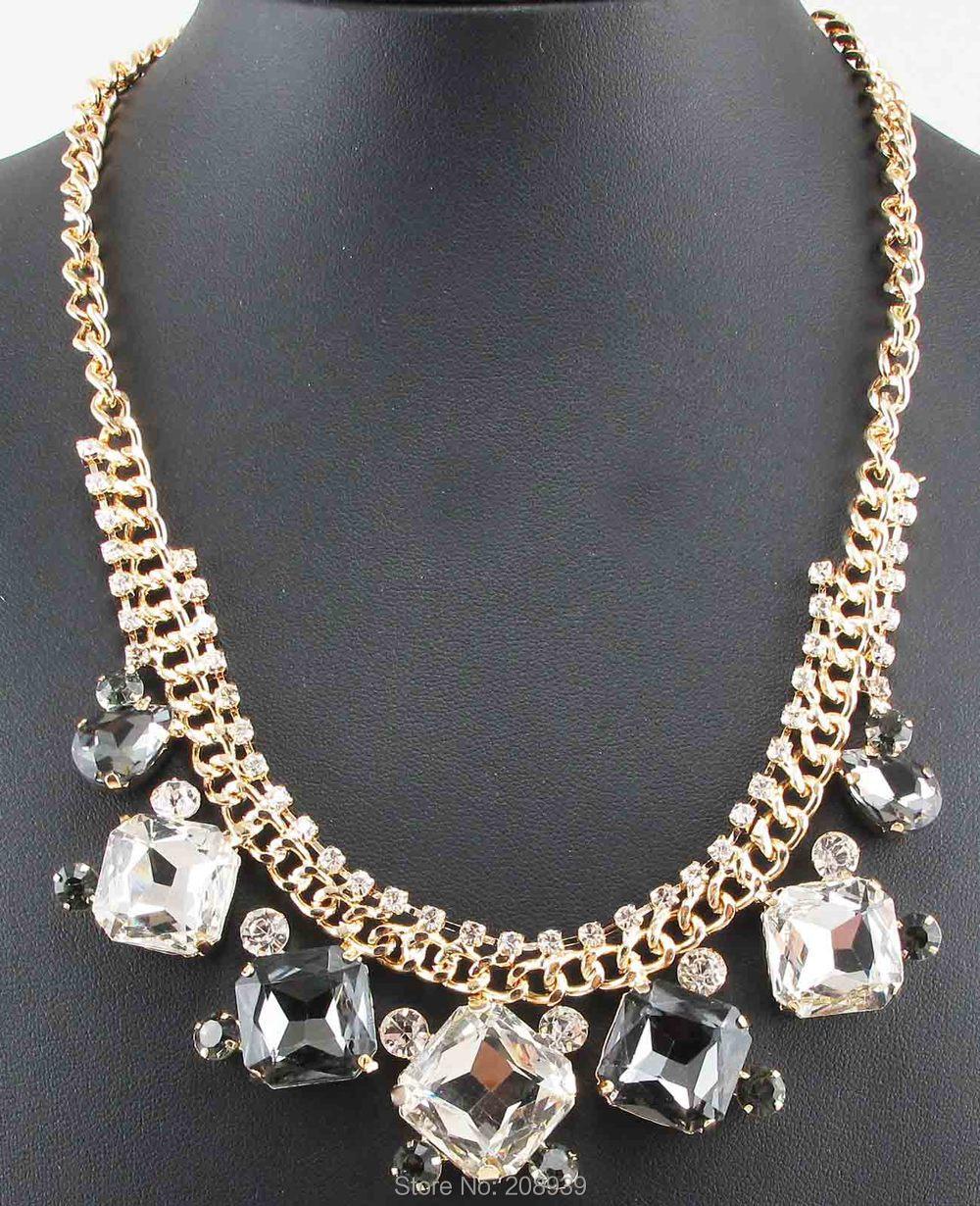 New Handmade Fashion Gray/White/Blue Glass Rhinestone Pendants Ancient Gold/Bronze Chain Bib Statement Women Choker Necklaces(China (Mainland))