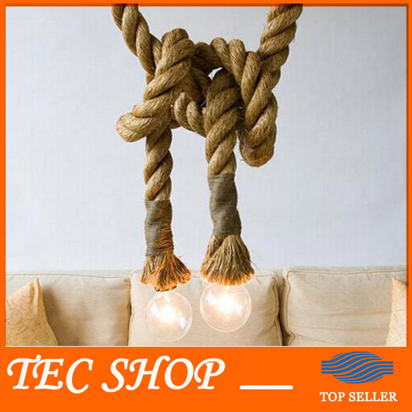 JH LOFT INDUSTRIAL Toronto Manila 3M Rope Ceiling Lights Chandeliers RUSTIC vintage hemp rope light(China (Mainland))