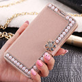 For Samsung Note 5 Case Pearl Rhinestone Wallet Case For Samsung Galaxy Note 5 Coque PU