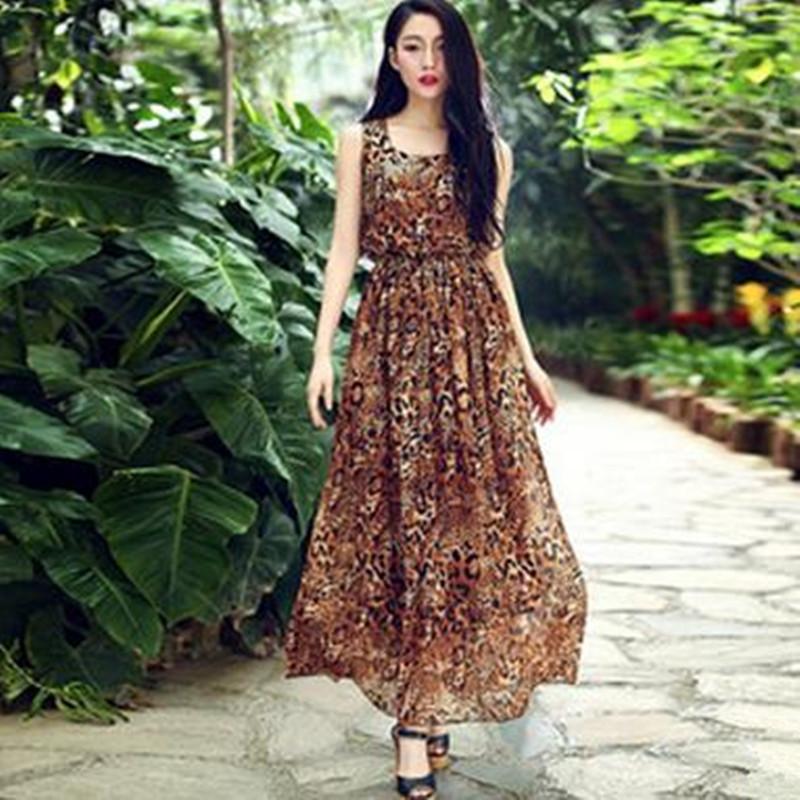 2015 Hot Sale Long Summer Women Empire Dress Leopard Printing Dress O-Neck Sleeveless Dress Plus Size E13(China (Mainland))