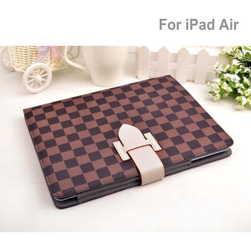 Fashion Business Leather Case For Apple iPad Air Grid Plaid L Luxury PU Leather smart Case Cover Fashion Plaid for Ipad 5(China (Mainland))
