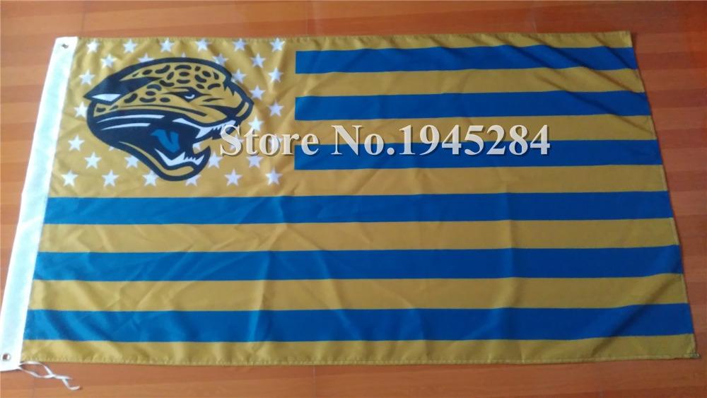 NFL Jacksonville Jaguars US Star Stripe Flag 3x5ft 150X90cm Banner Polyester Flag, free shipping(China (Mainland))